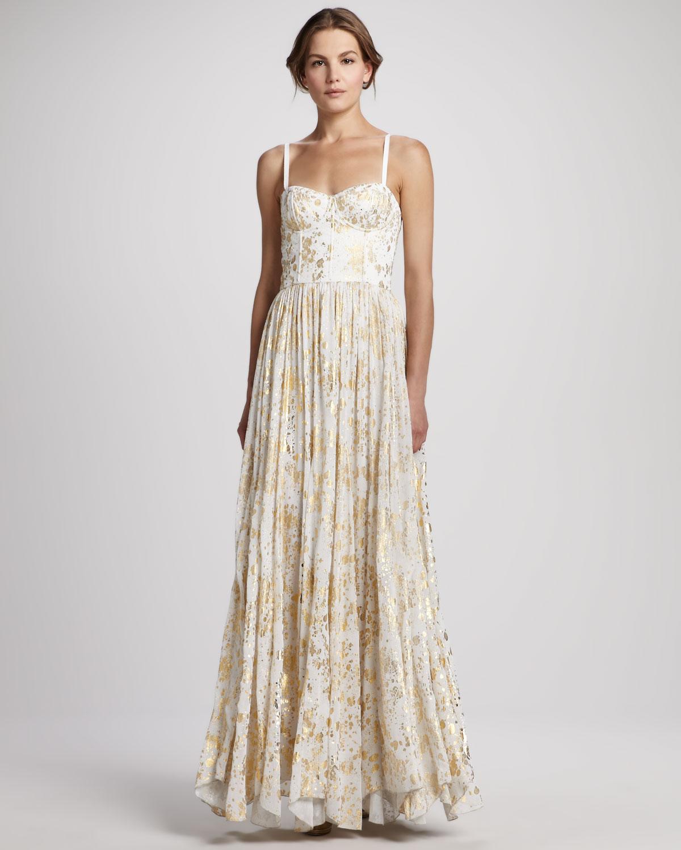 Metallic wedding guest dresses gold cream Alice and Olivia
