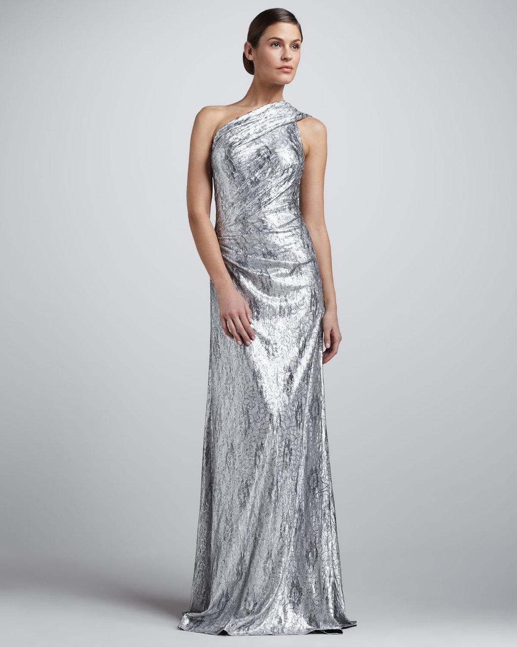 e44089237fec Metallic wedding guest dresses silver one shoulder
