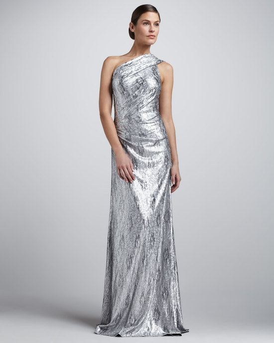 Metallic wedding guest dresses silver one shoulder