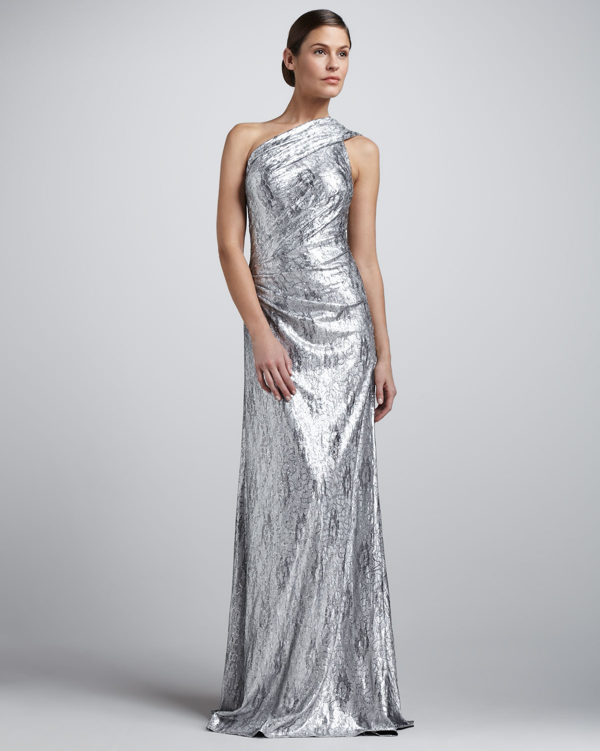 Metallic wedding guest dresses silver one shoulder for Neiman marcus wedding guest dresses
