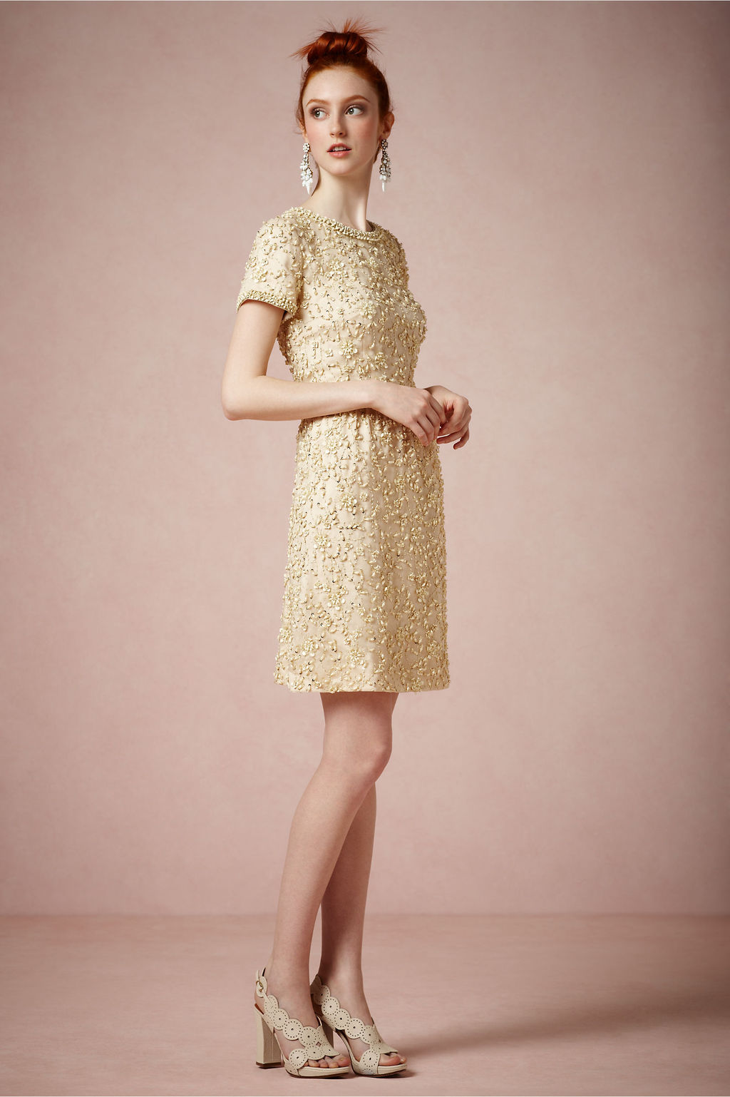 Vintage Wedding Dresses Gold : Gold vintage inspired short wedding guest dress by bhldn onewed
