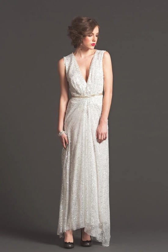 Gold sparkle empire wedding guest dress