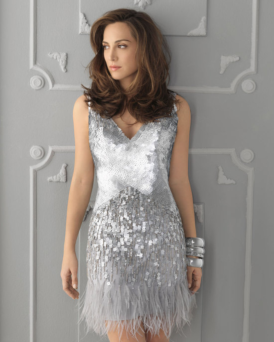 Silver sequin feather wedding guest dress
