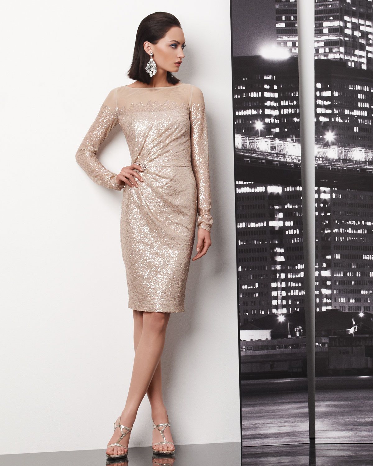Champagne sequin wedding guest dress for Champagne seguin