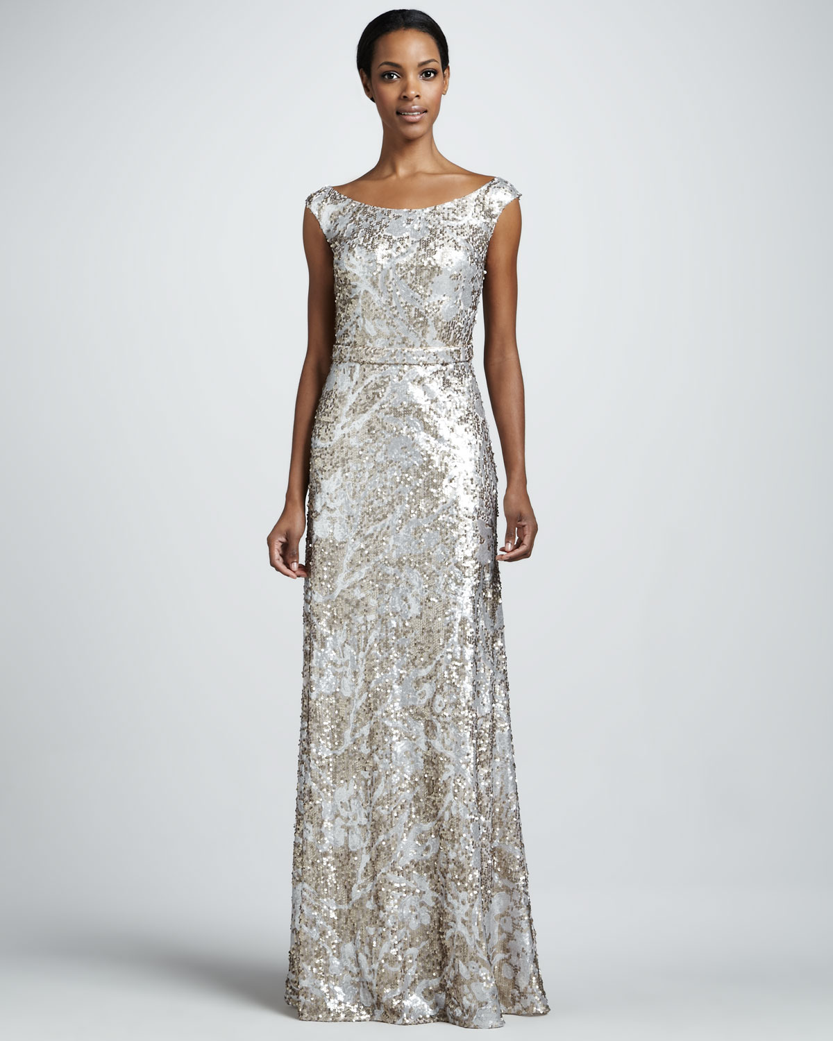 Long Gowns For Wedding Guests: Silver Champagne Sequin Long Wedding Guest Dress