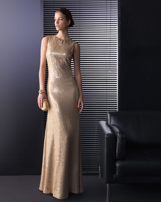 Gold sheath wedding guest dress