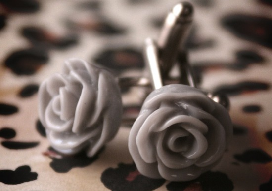 gray rosette groom cufflinks