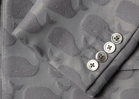 whale embossed gray grooms suit