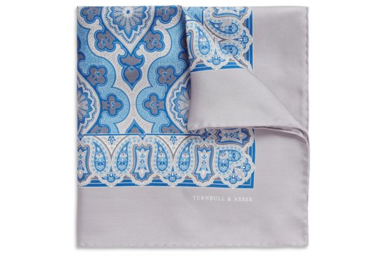 Gray blue paisley grooms pocket square
