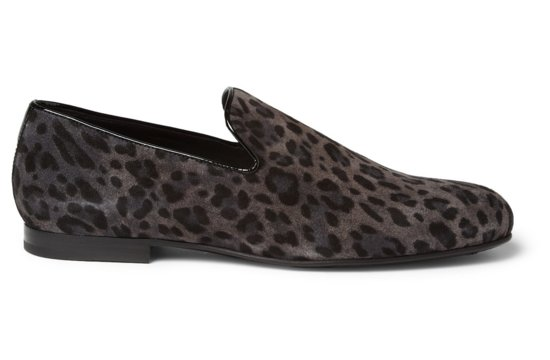Gray black leopard grooms shoes