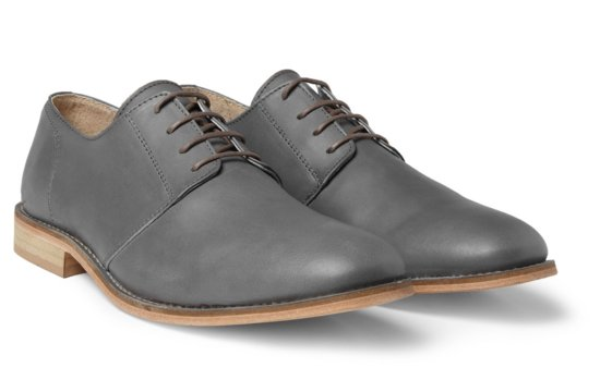Gray leather grooms shoes lace up