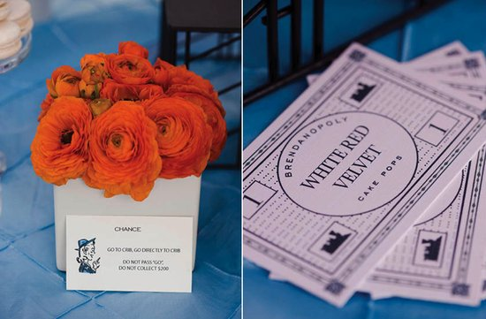 themed wedding ideas orange flower centerpiece monopoly decor