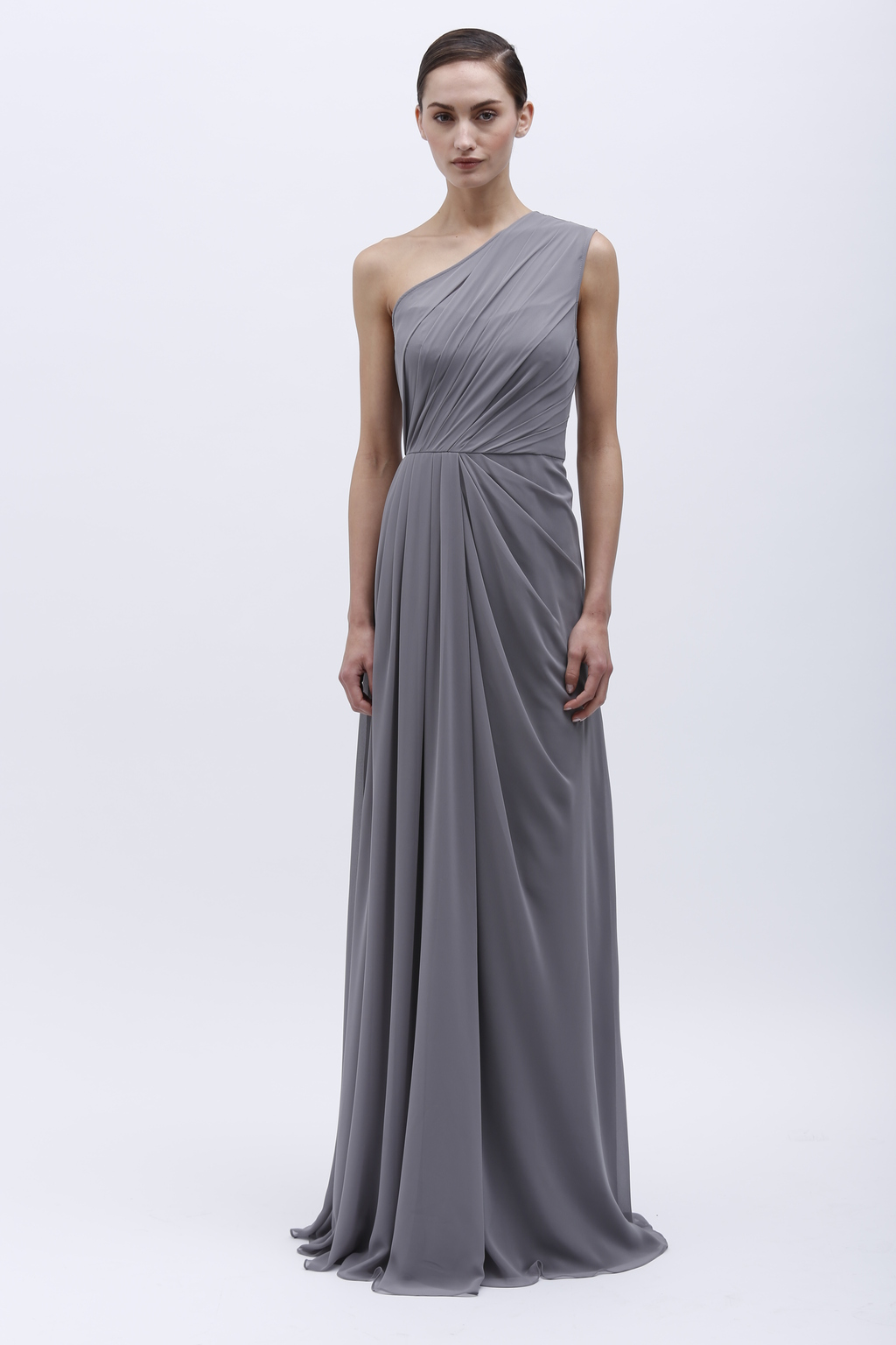 Monique Lhuillier bridesmaid dress with one shoulder in deep ...