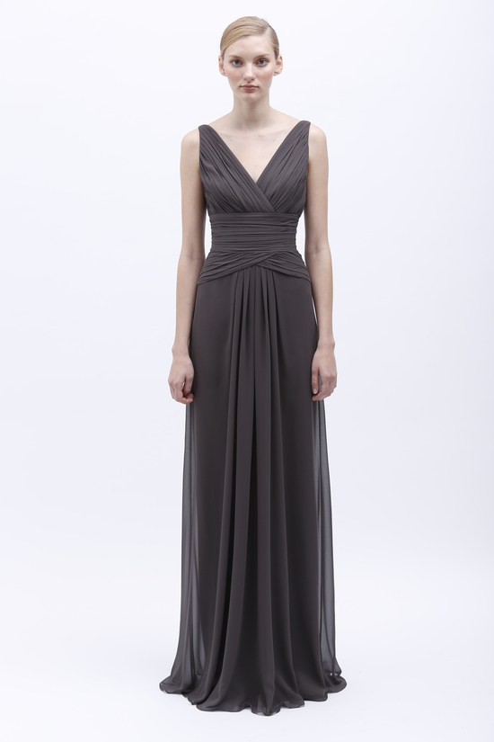 Monique Lhuillier Spring 2014 Bridesmaid Dress 450136 Charcoal