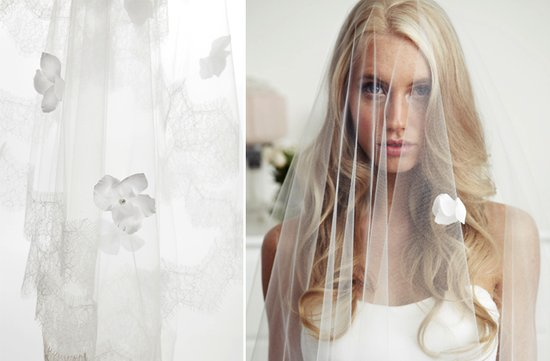 sheer tulle bridal veil flower embellished