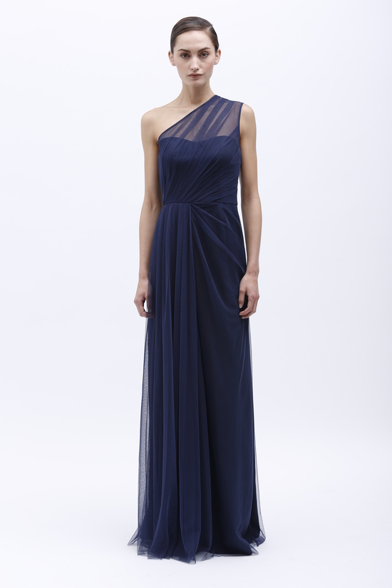 Monique Lhuillier Spring 2014 Bridesmaid Dress 450140 Navy