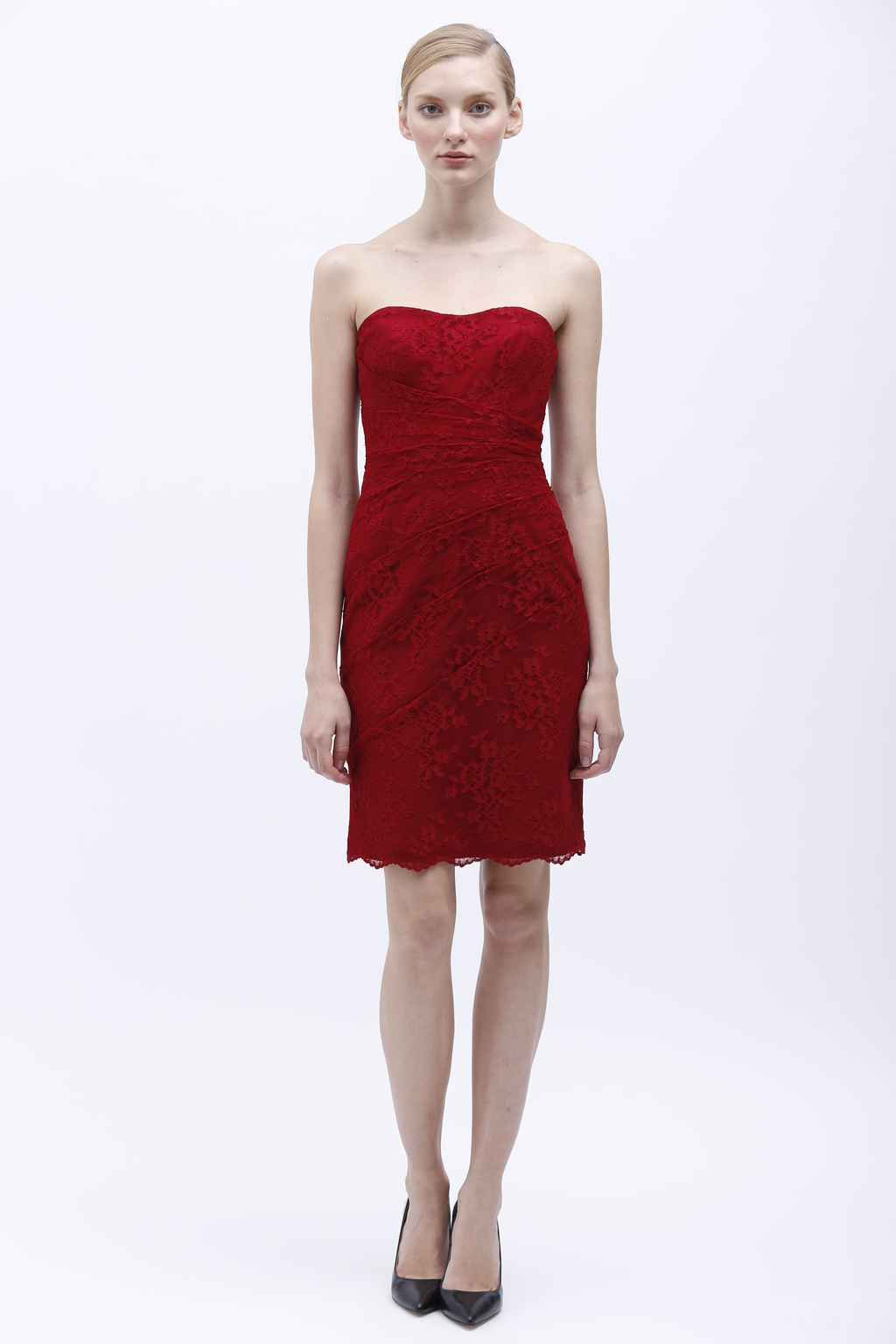 Monique Lhuillier Spring 2014 Bridesmaid Dress 450147 Cranberry
