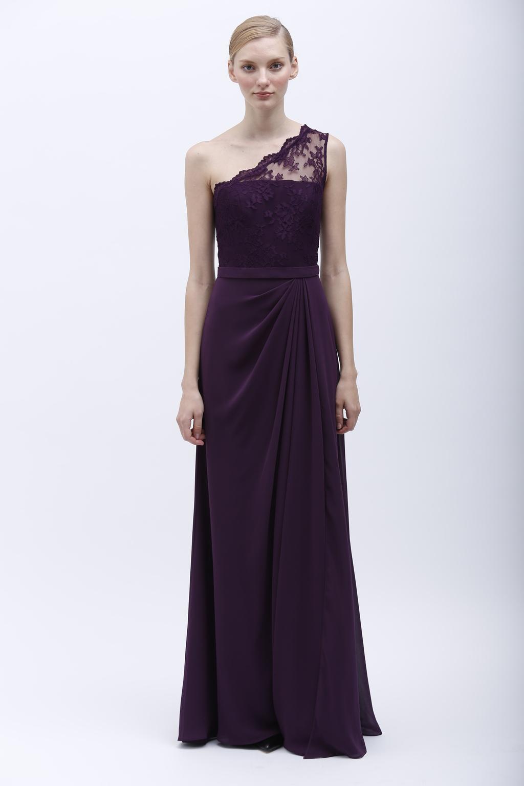Monique lhuillier spring 2014 bridesmaid dress 450154 plum for Buy monique lhuillier wedding dress