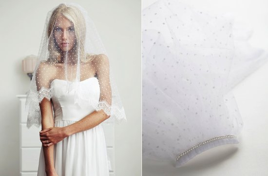 swiss dot bridal veil lace trimmed