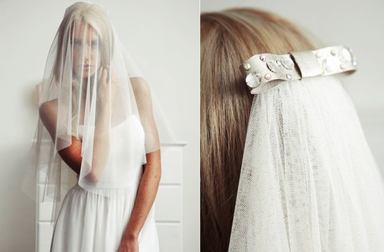 sheer layered bridal veil embellished bridal clip
