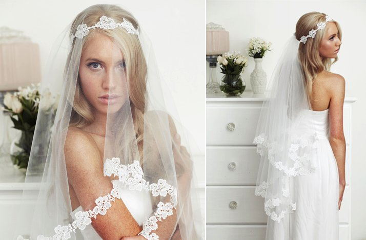 sheer bridal veil fingertip lace