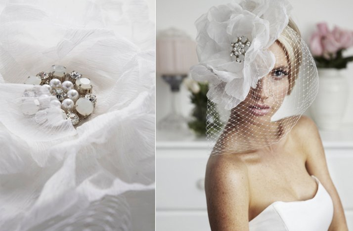 haute couture bridal headpiece blusher veil
