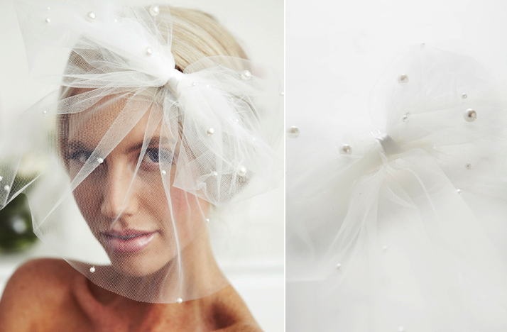 Flirty Bridal Veil Blusher Pearl Embellished