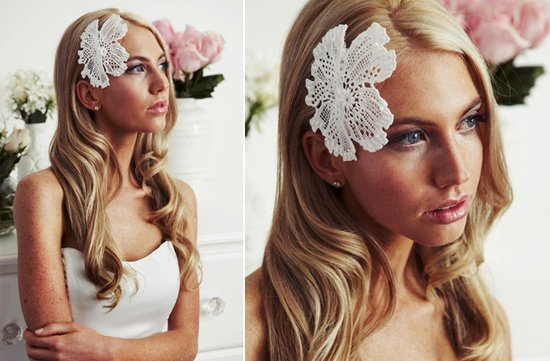 vintage bridal hairstyle ivory hair flower lace