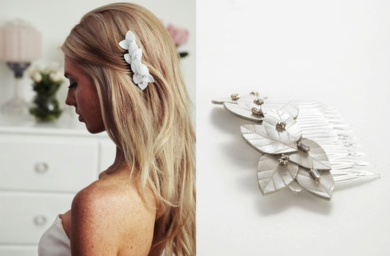 leather bridal hair clip leaves pearls