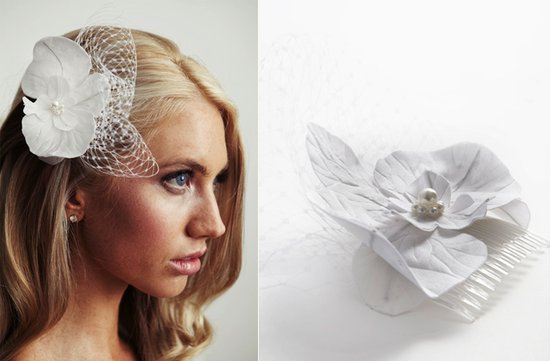 romantic bridal hair comb white flower