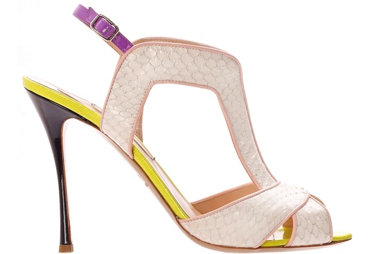 Ivory blush snakeskin wedding shoes with pops of neon