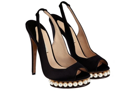 Black peep toe wedding shoes with pearl platform