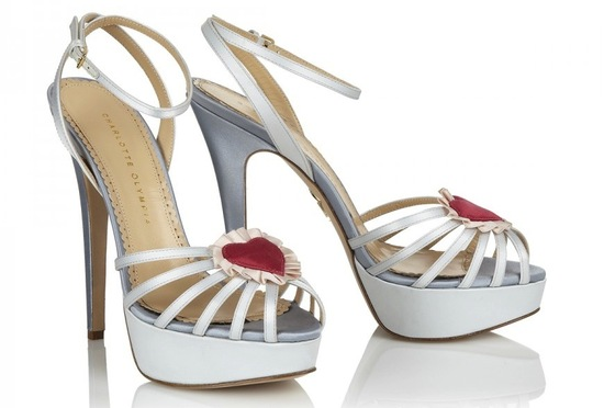 White and silver blue wedding shoes with red hearts
