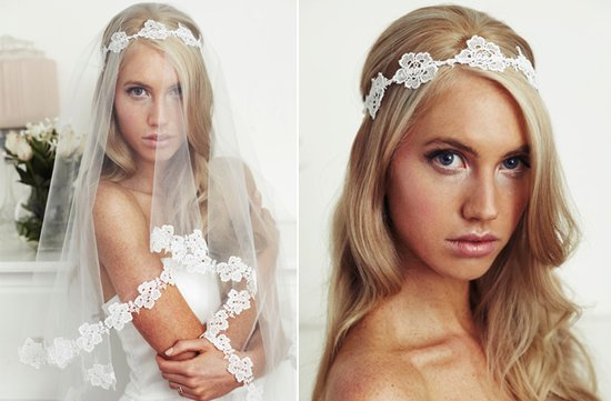 lace bridal headband mantilla veil