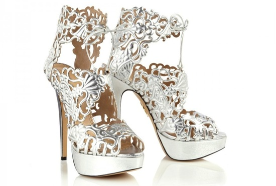 Silver lacy wedding shoes by Charlotte Olympia