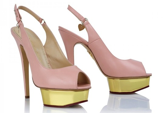 Pink and gold platform wedding shoes