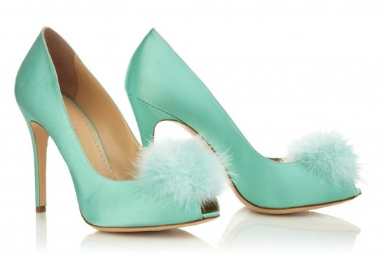 aqua blue satin wedding shoes with feather pom pom