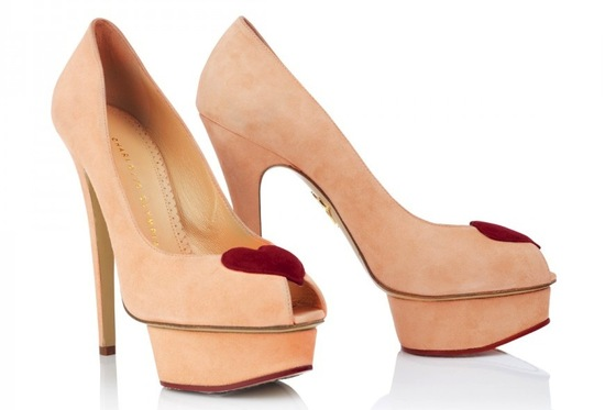 blush and red platform wedding shoes