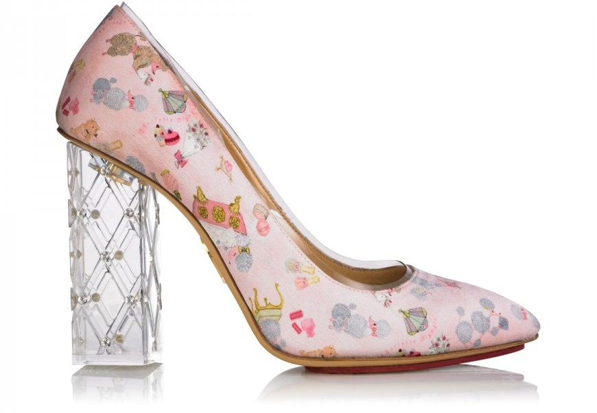 whimsical printed wedding shoes with clear heel