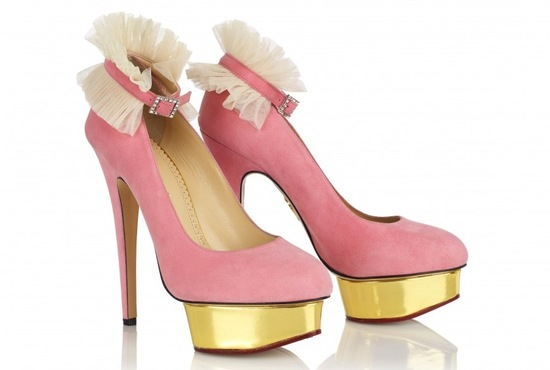 Pink dolly wedding shoes by Charlotte Olympia
