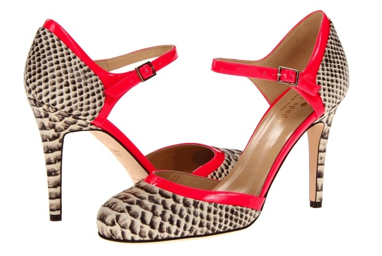 red and snakeskin wedding shoes by Kate Spade