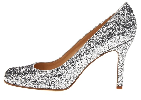 Silver sparkly wedding shoes by Kate Spade