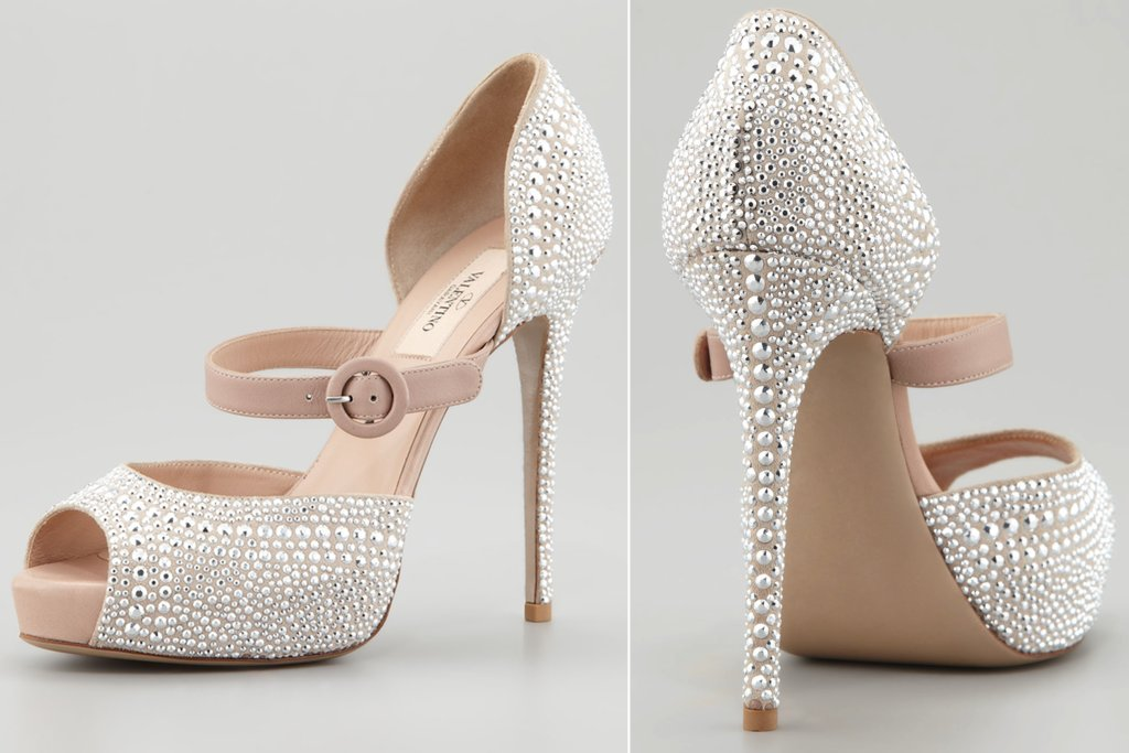 Silver studded wedding shoes by Valentino