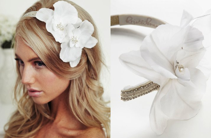 chic bridal headband white silk flower c5b2d6fff34