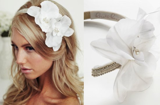 chic bridal headband white silk flower