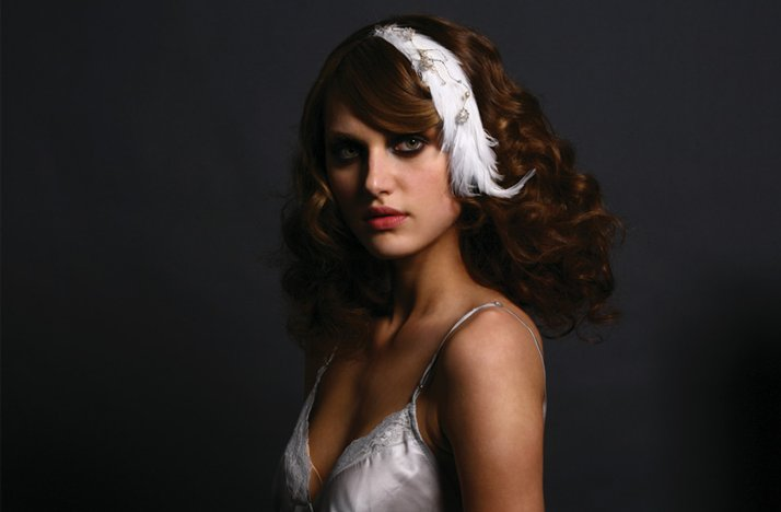 all down wedding hair feather fascinator