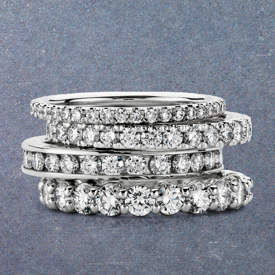photo of Blue Nile stackable platinum and diamond wedding rings