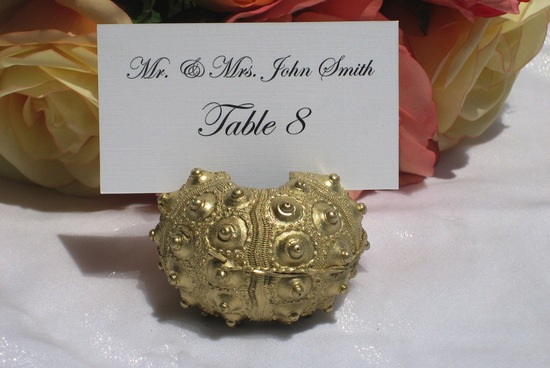 Gold sea urchin wedding table card holder