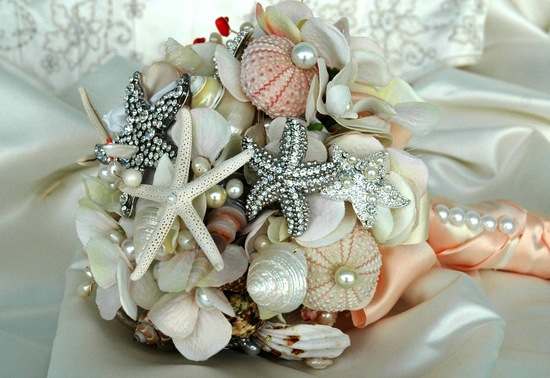 Beach bridal bouquet brooches and shells
