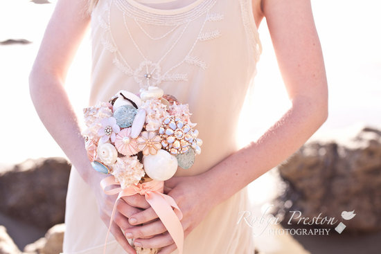Pastel seashell brooch wedding bouquet